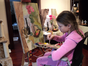 Саша.Урок живописи маслом через два года.